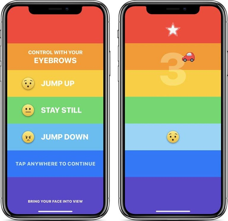 Rainbow : New iPhone X Game , controlled By Eyebrows