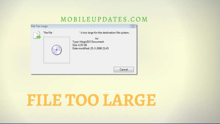 """How to Fix """"The file is too large for the destination file system"""" Error"""